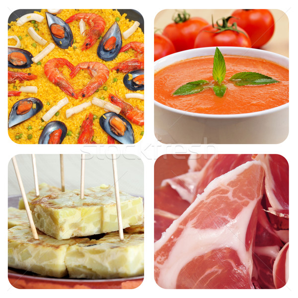 spanish dishes and tapas collage Stock photo © nito