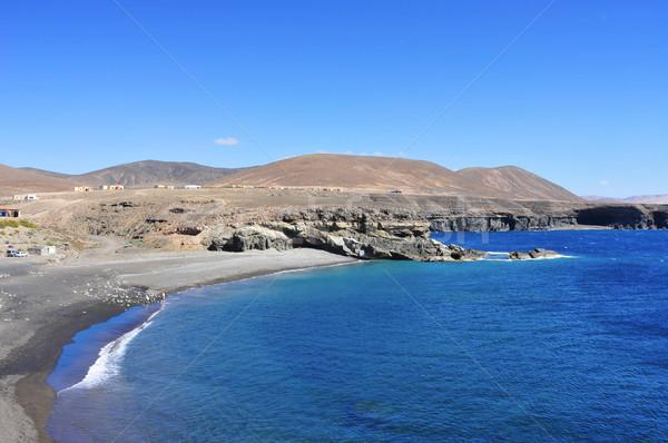Spanyolország fekete homok tengerpart Kanári-szigetek víz Stock fotó © nito