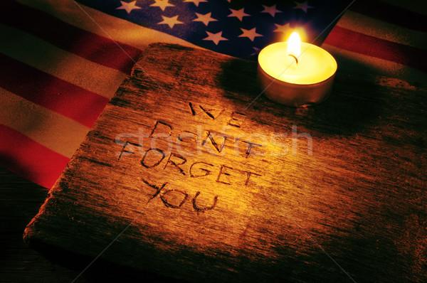 Nem fából készült zászló Egyesült Államok fény gyertya Stock fotó © nito