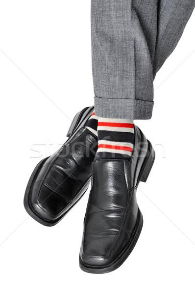Stock fotó: Nyugodt · üzletember · láb · közelkép · megnyugtató · fehér