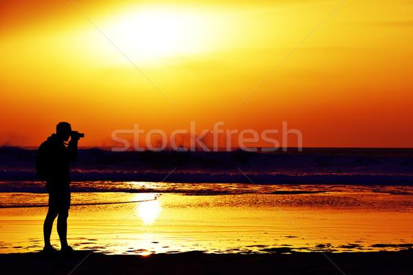 Moço quadro mar crepúsculo silhueta Foto stock © nito