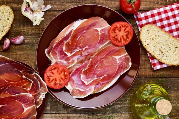 Spaans schaal brood tomaat serrano shot Stockfoto © nito