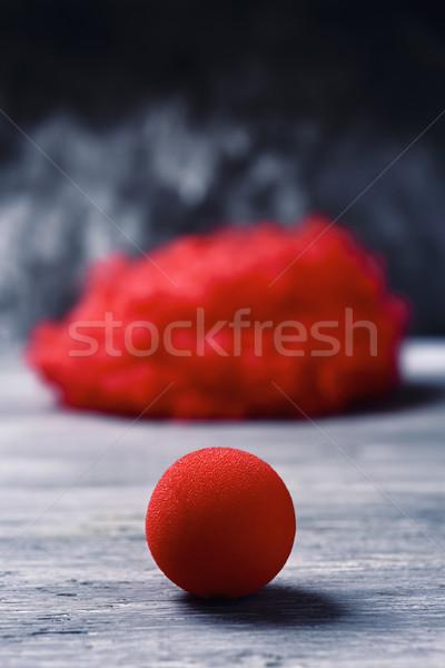 Kırmızı peruk palyaço burun Stok fotoğraf © nito