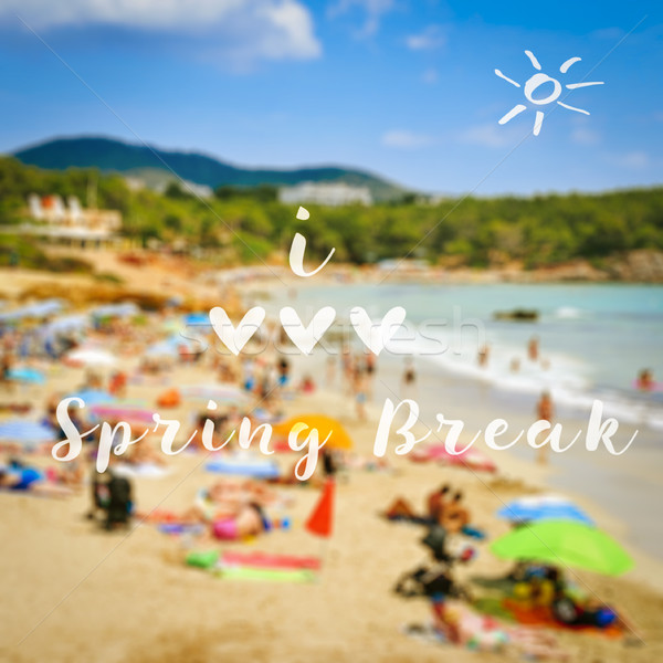 Szöveg szeretet tavaszi szünet elmosódott kép tengerpart Stock fotó © nito