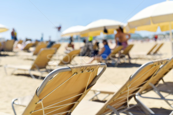 Parasole plaży beżowy morze Śródziemne morza Zdjęcia stock © nito