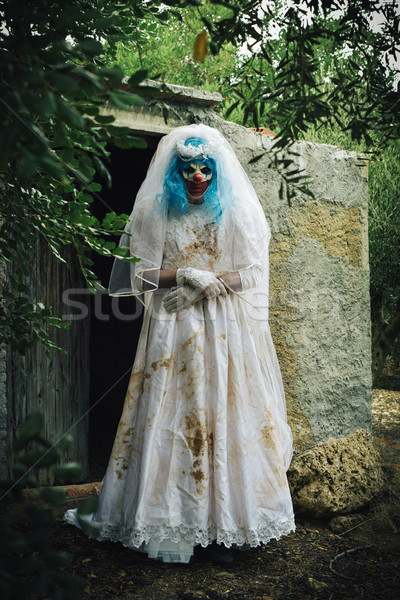 scary evil clown in a bride dress outdoors Stock photo © nito