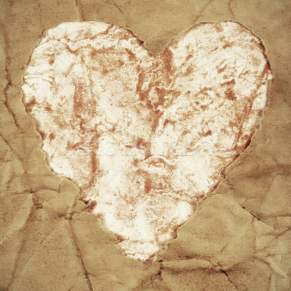 old paper heart Stock photo © nito