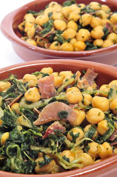 spanish garbanzos con jamon, chickpeas with serrano ham, served  Stock photo © nito