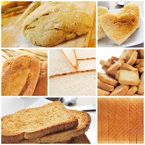 Kenyér kollázs különböző eszik gabona pirítós Stock fotó © nito