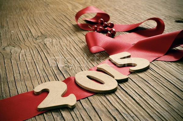 2015 új év fából készült számok piros szatén Stock fotó © nito