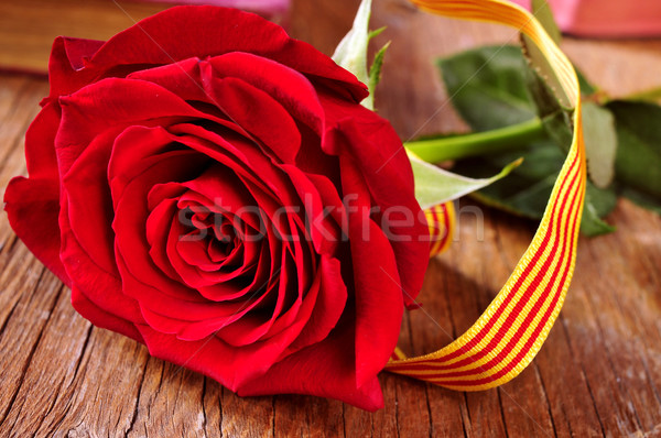 rose with the Catalan flag and books, for Saint Georges Day Stock photo © nito