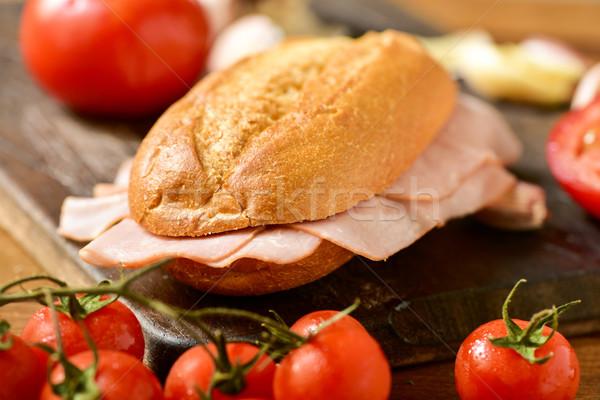 Stock photo: braised turkey ham sandwich