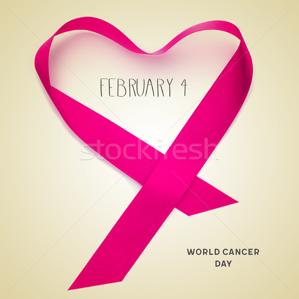 Stock photo: text february 4, world cancer day