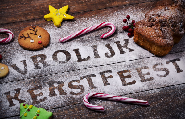 text vrolijk kerstfeest, merry christmas in dutch Stock photo © nito