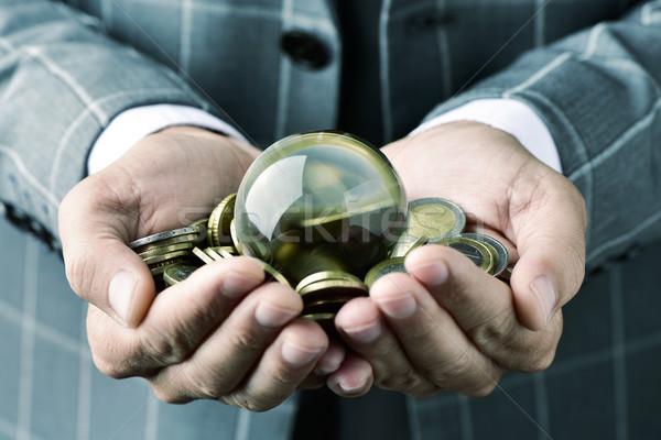 Işadamı crystal ball euro madeni para genç Stok fotoğraf © nito