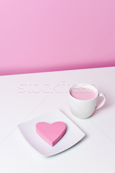 pink heart in a plate and cup of pink milkshake Stock photo © nito