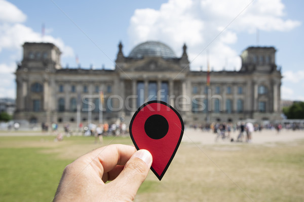 man with a red marker in front of the Reichstag Stock photo © nito