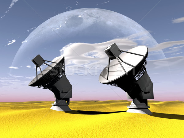 Radio telescoop woestijn maan hemel landschap Stockfoto © njaj