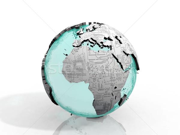 Föld nyomtatott áramkör textúra földgömb absztrakt terv Stock fotó © njaj