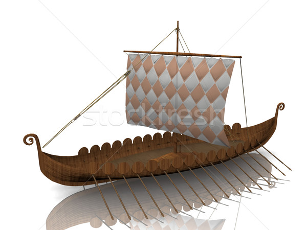 The  Viking warship on white background Stock photo © njaj