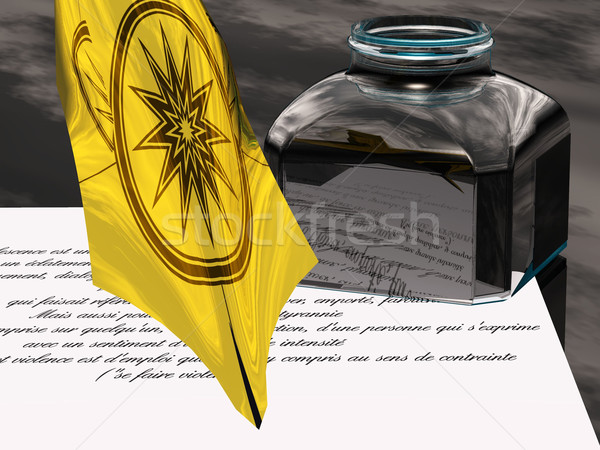 Caneta caneta-tinteiro papel escrita carta pena Foto stock © njaj