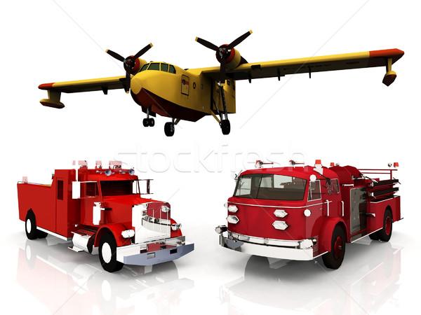 Yangın makinalar Retro motor güvenlik acil durum Stok fotoğraf © njaj