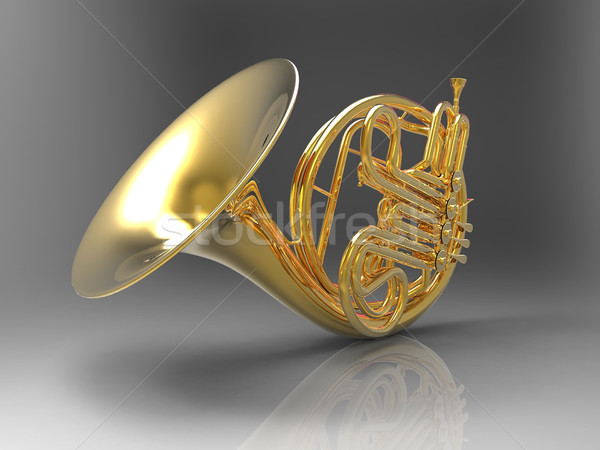 Stock photo: the horn on a gray background