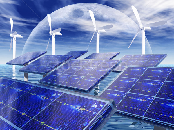 wind turbine and solar cell panels Stock photo © njaj