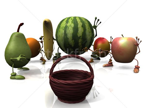 Gyümölcs lény kezek fű természet alma Stock fotó © njaj