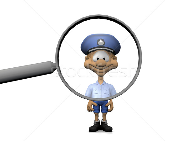 policeman and the magnifying glass