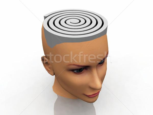 Labyrint hoofd hersenen helpen denken spelen Stockfoto © njaj