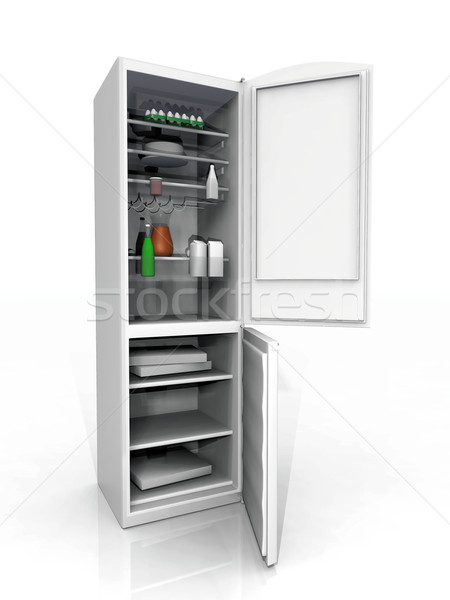 Hűtőszekrény mélyhűtő fehér ház étel szépség Stock fotó © njaj