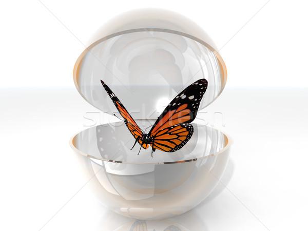 蝶 美しい オープン バブル 自然 庭園 ストックフォト © njaj