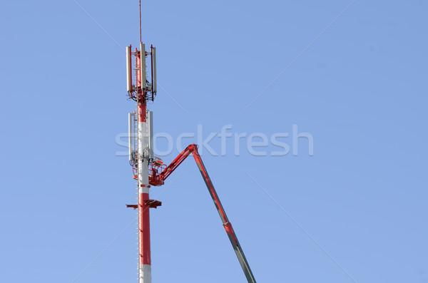 Antenna installazione costruzione tecnologia mobile lavoratore Foto d'archivio © njaj