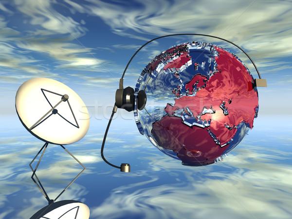 Comunicazione globale mappa tecnologia rete web scienza Foto d'archivio © njaj