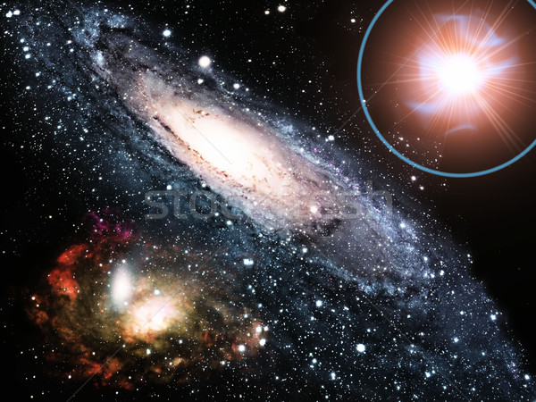 a  galaxy and a super nova Stock photo © njaj