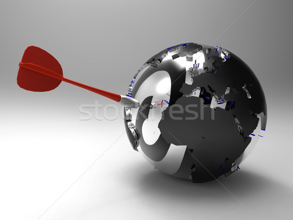 Foto stock: Globalização · mapa · terra · comunicação · planeta · dardo