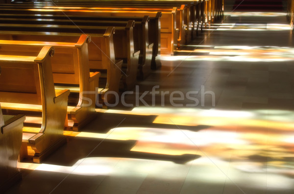 reflection of the stained glass in the church Stock photo © njaj