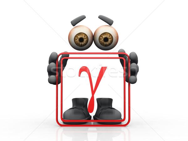 Gamma szimbólum fehér férfi szemek férfiak Stock fotó © njaj