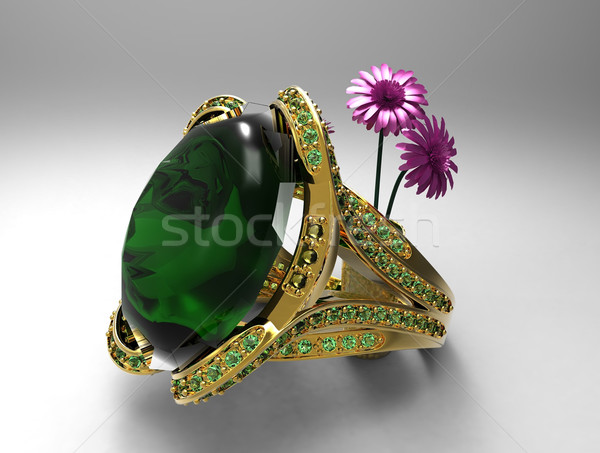 emerald ring and flowers Stock photo © njaj