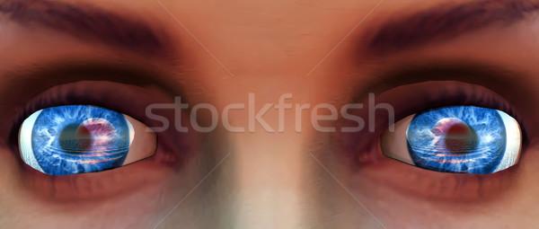 Yeux bleus femme fille beauté portrait jeunes Photo stock © njaj