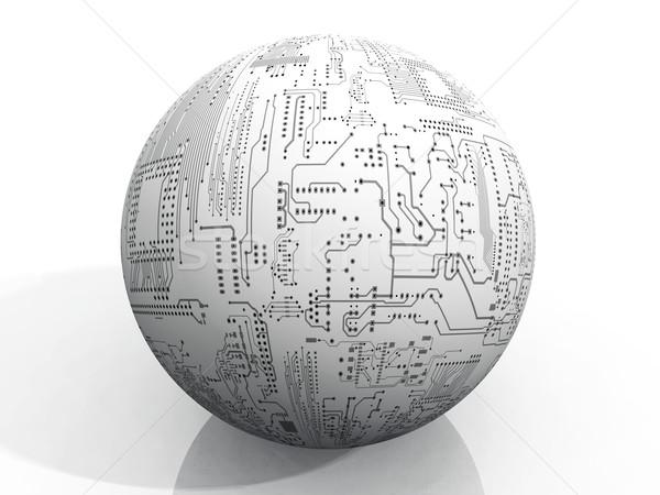 мяча напечатанный схеме аннотация технологий связи Сток-фото © njaj