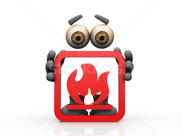 огня символ белый человека глазах мужчин Сток-фото © njaj