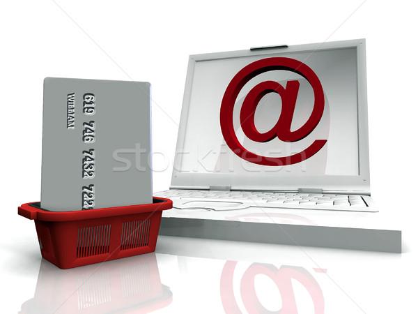 Compras on-line computador internet fundo assinar tela Foto stock © njaj