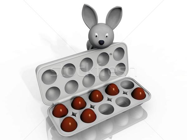rabbit and easter eggs Stock photo © njaj