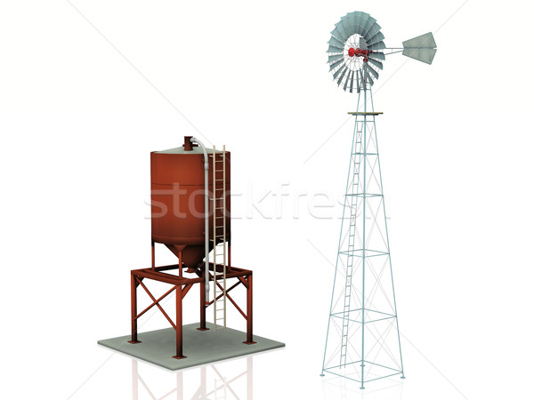 windmill  and water tank on a white background Stock photo © njaj