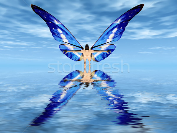 the fairy with butterfly wings Stock photo © njaj