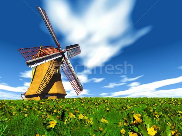 Wiatrak jeden pola niebo zielone energii Zdjęcia stock © njaj