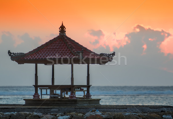 Pôr do sol bali praia céu água sol Foto stock © njaj