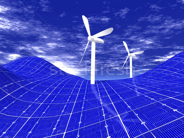 windmill and solar panels Stock photo © njaj